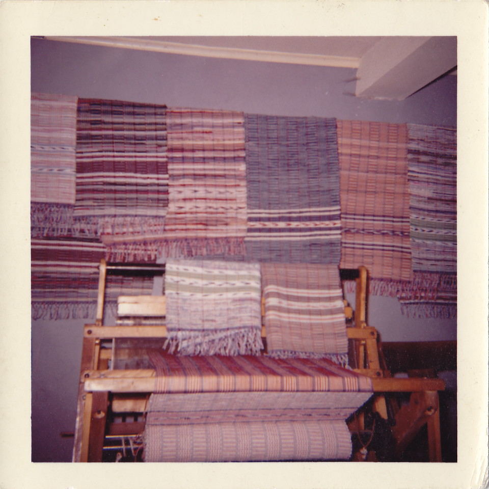 Osseo, minn  This is a photo of rugs arranged in Gram and Pops Osseo home, showing off all the rugs that they made for Osseo residents.  And the prices were, anywhere from 25 cents to one dollar a YARD.