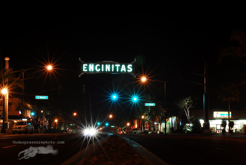 Downtown Encinitas at night