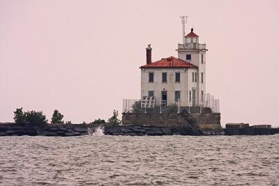 The Fairport Harbor West Breakwater Lighthouse in Fairport Harbor, Ohio on Lake Erie