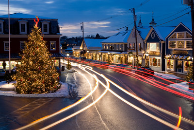 Kennebunkport, Maine photographed in December just before the Christmas Holiday.  The downtown area known as Dock Square in Kennebunkport, Maine