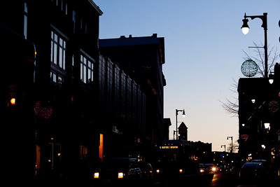 Downtown Portland, Maine in the Congress Street are at dusk on 2.1.10.  Photograph taken by Portland, Maine based photographer Jeff Scher.