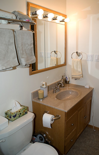 Luckly when I installed the little hand towel rack, I didn't hit any wires. Toilet paper holder, and not visible in the photo - the tower rack, are now installed. All that is left is to have the window installed.