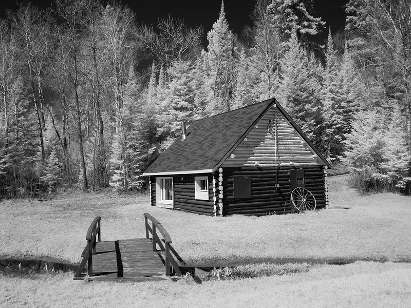 Cabin on Thunder Lake in Infrared<br /> <br /> Photo taken with a modified G5. Modified to take only infrared photos.
