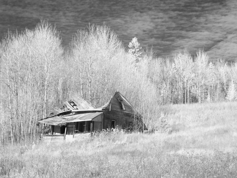 Abandoned homestead in IR. Photo taken with a modified Canon G5, modified to take only IR images.<br /> <br /> Looks like this building isn't going to be lasting much longer. This image was taken in October of 2008.