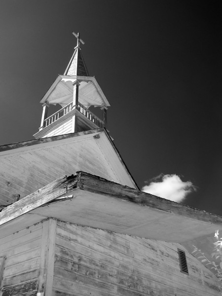 The steeple of the abandoned Macintosh Church in infrared.<br /> <br /> Modified Canon G5.
