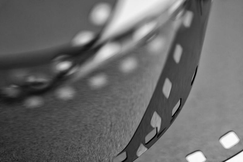 A roll of Kodak Tmax 100 film on a light table.