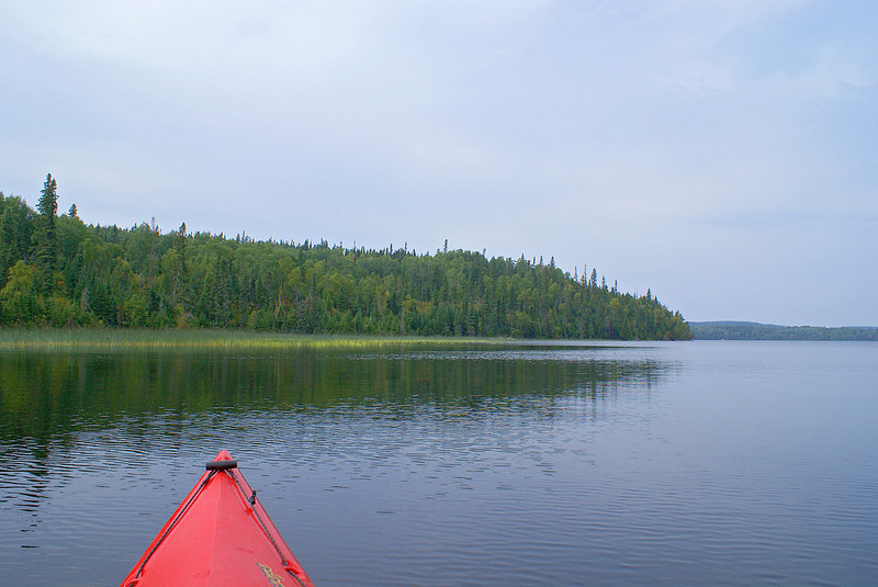 When I first started out on Gullwing Lake, the wind was not too bad, but the sky was overcast.