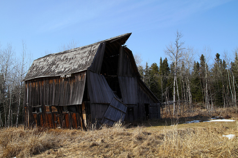 The Findlay family barn, built in 1928 by Bill Findlay. Photo taken March 13, 2010. The barn finally collapsed during the summer of 2010.