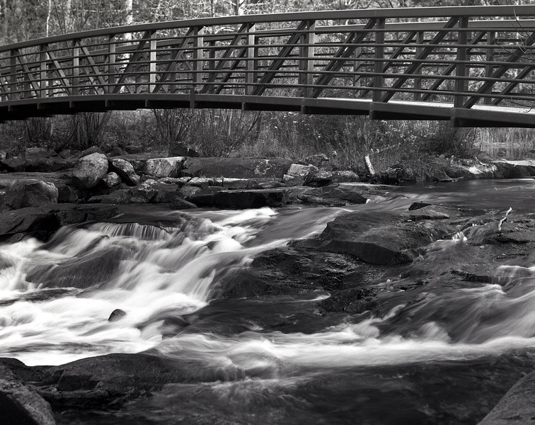 Rushing River Ontario<br /> <br /> Calumet CC-400 large format camera (4x5 sheet film).  Schneider-Kreuznach 210mm Symmar lens. FIlm used was Arista EDU Ultra 100 iso film, tray developed in HC-110 dilution 'B' for 6.5 minutes at 19C