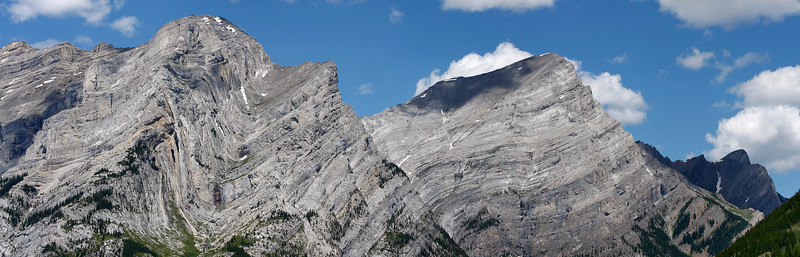 Panorama of 3 photos to capture more of the mountains that I could have otherwise. Zoomed in to try to get the rock formation detail.