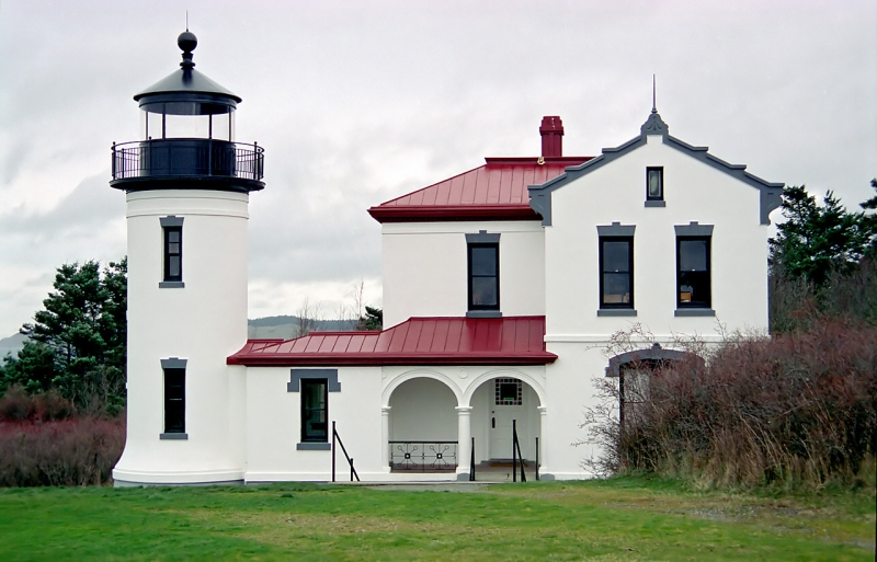 The lighthouse at Fort Casey State Park on Whidbey Island, in Washington State, USA.