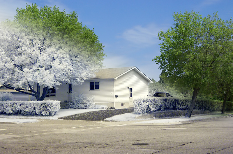 I took a colour and IR photo and combined them in Photoshop CS3, added a gradient to get the effect you see here. This is a photo of our house.<br /> <br /> IR photo: 2 seconds at F5.6, 800 iso, Hoya R72 IR filter<br /> Colour: 1/2500 at F10, 800 iso<br /> Both Photos: Sony A100, 18-70mm Sony kit lens, tripod.