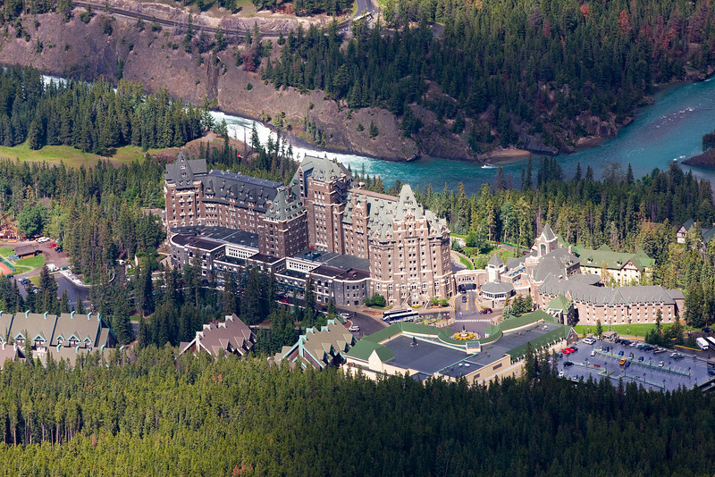 The Banff Springs Hotel. Photo taken while riding down Sulphur Mountain in a gondola.