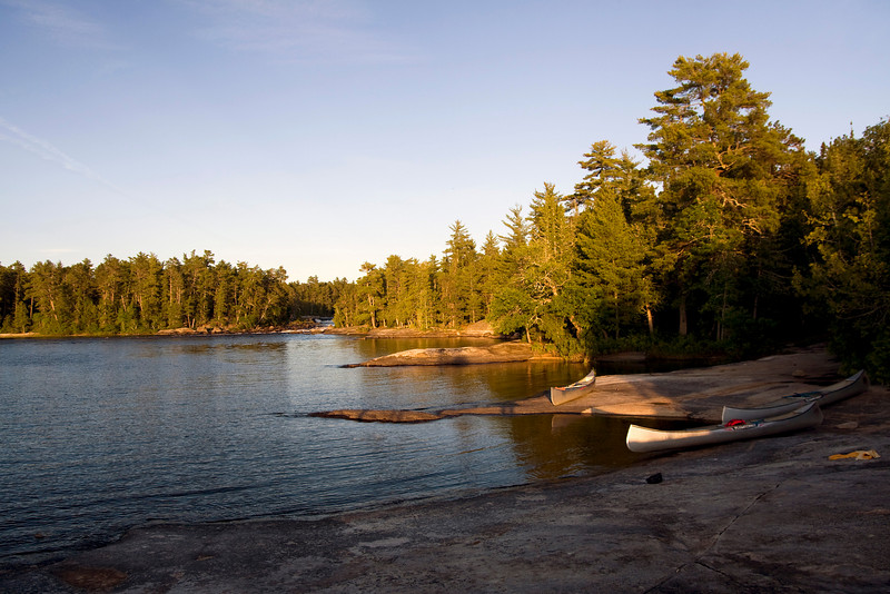 Chatterton Falls in Quetico Park as seen from our campsite. This version was taken at 8:32 pm as the sun was going down.