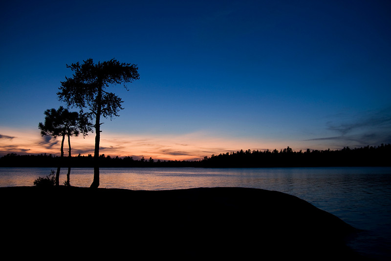 The sun sets at Chatterton Falls, in Quetico Provincial Park.
