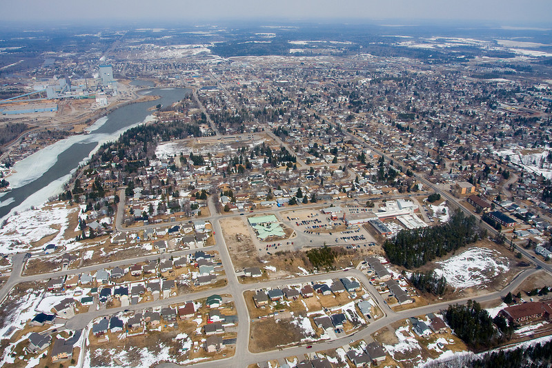 The City of Dryden, Ontario. Photo taken from approximately 1000 feet through a side window of  a Bell 206L. Thanks to Superior Helicopters, as without them I couldn't have take this photo.<br /> <br /> Might not be a very scenic photo, but I had no where else to put it.<br /> <br /> And yes my house is in the photo, and no I'm not telling you which one!