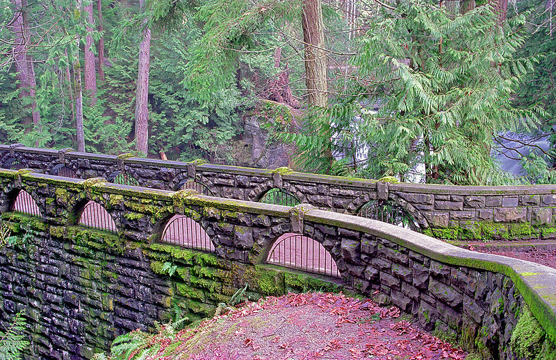 Mossy bridge in Whatcom Park near Bellingham, WA.<br /> <br /> I wasn't happy with the photo so I reworked it in PS CS2.