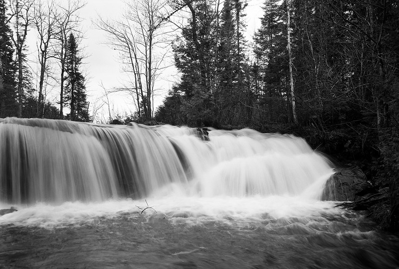 Raleigh Falls, 20 km's east of Ignace, Ontario.<br /> <br /> Anniversary Speed Graphic 4x5 camera loaded with Ilford FP4+, tray developed in D76 for 9.5 minutes at 19C.