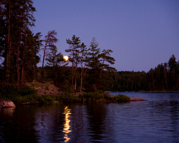 Not the best photo of a full moon as seen from one of our campsites while in Quetico Park.