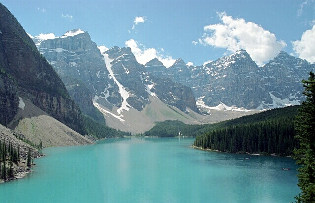 Morraine Lake - I removed some trees that where in the foreground.<br /> <br /> Film Camera (Minolta 700si I believe)