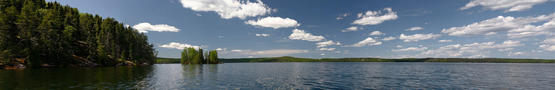 This is a composite of 6 photos, all of which where taken while sitting in my kayak. This lake is called Ghost Lake, which is east of Dryden, Ontario.<br /> <br /> Looks better on a wide screen, and viewing the X2 or X3 size.