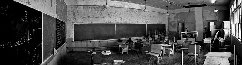 Inside the Shallow Lake School. <br /> <br /> This is 6 photos stitched together. I then decided to go with black and white. On the right side, you can see my Anniversary Speed Graphic 4x5 camera (from the 1940's)  on my Manfrotto tripod - the camera kind of fits in with the old building and the black and white.