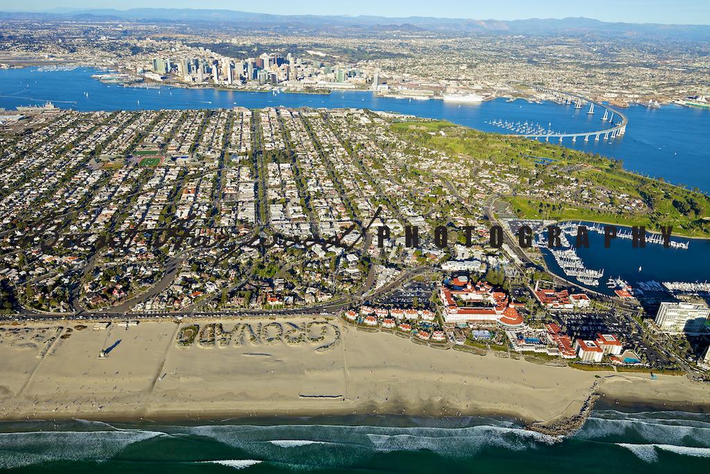 Coronado aerial shoot, coronado sand, beach downtown Coronado