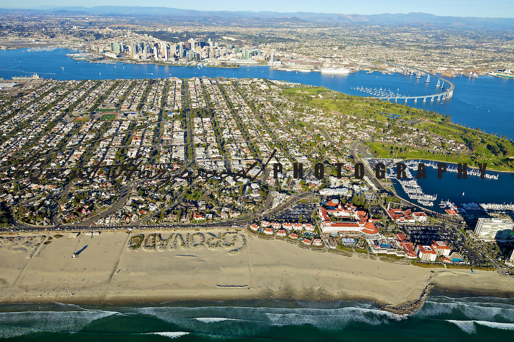 Coronado aerial shoot, coronado sand, beach downtown Coronado