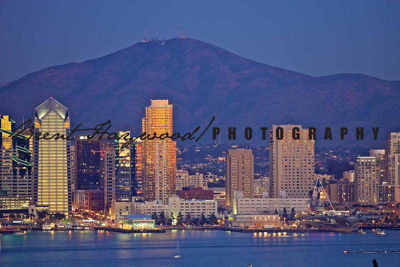 San Diego skyline evening