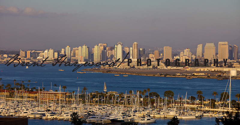 San Diego skyline, Point Loma, Shelter Island
