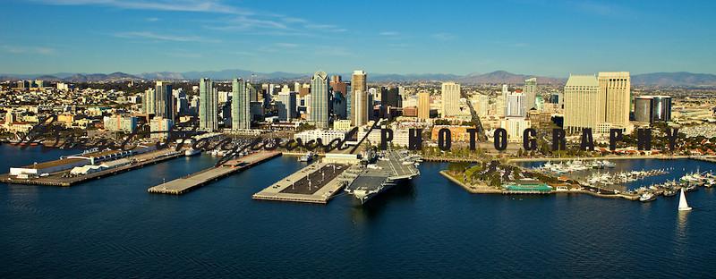 San Diego skyline, Aircraft carrier, San Diego Harbor
