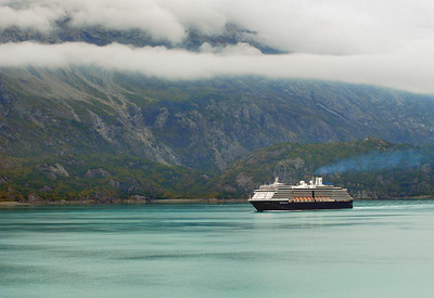Holland America's Zuiderdam leaving Glacier Bay, AK