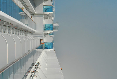 Island Princess in fog-Inside Passage en route to Vancouver.