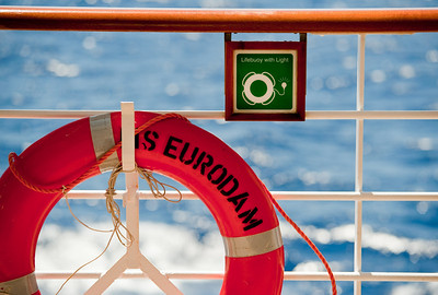 Closeup of a life preserver ring  on the m.s. Eurodam.