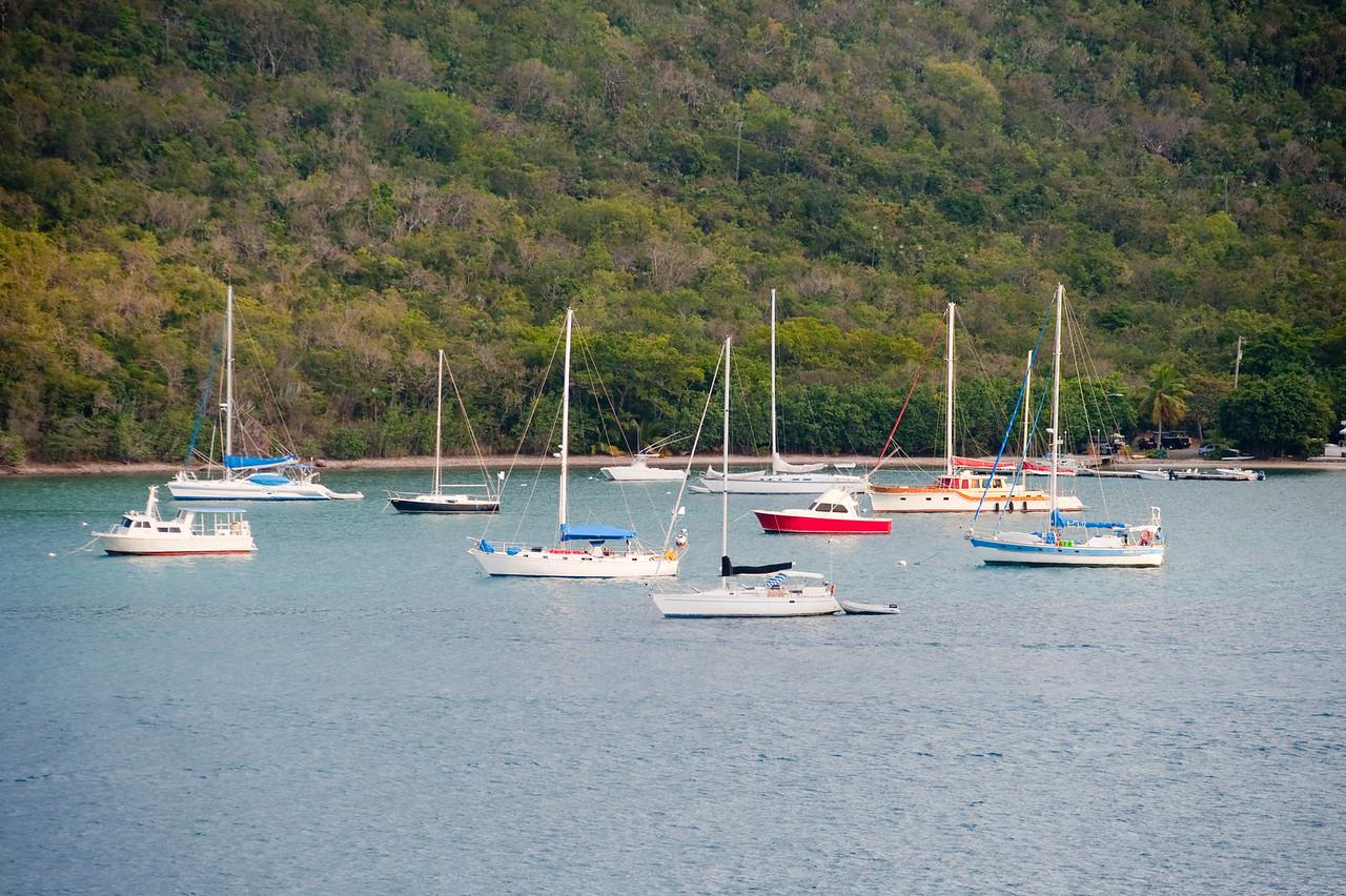Sailboats at anchor in the harbor at Charlotte Amalie, St. Thomas.