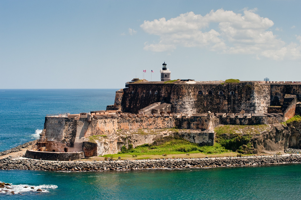 The stone fortress El Morro at Old San Juan Puerto Rico, as seen from the ocean.