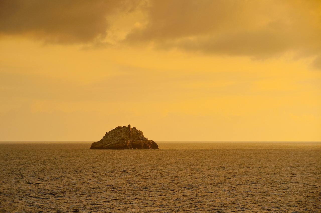 Golden sunset light on a small island in the Caribbean off the coast of St. Thomas.