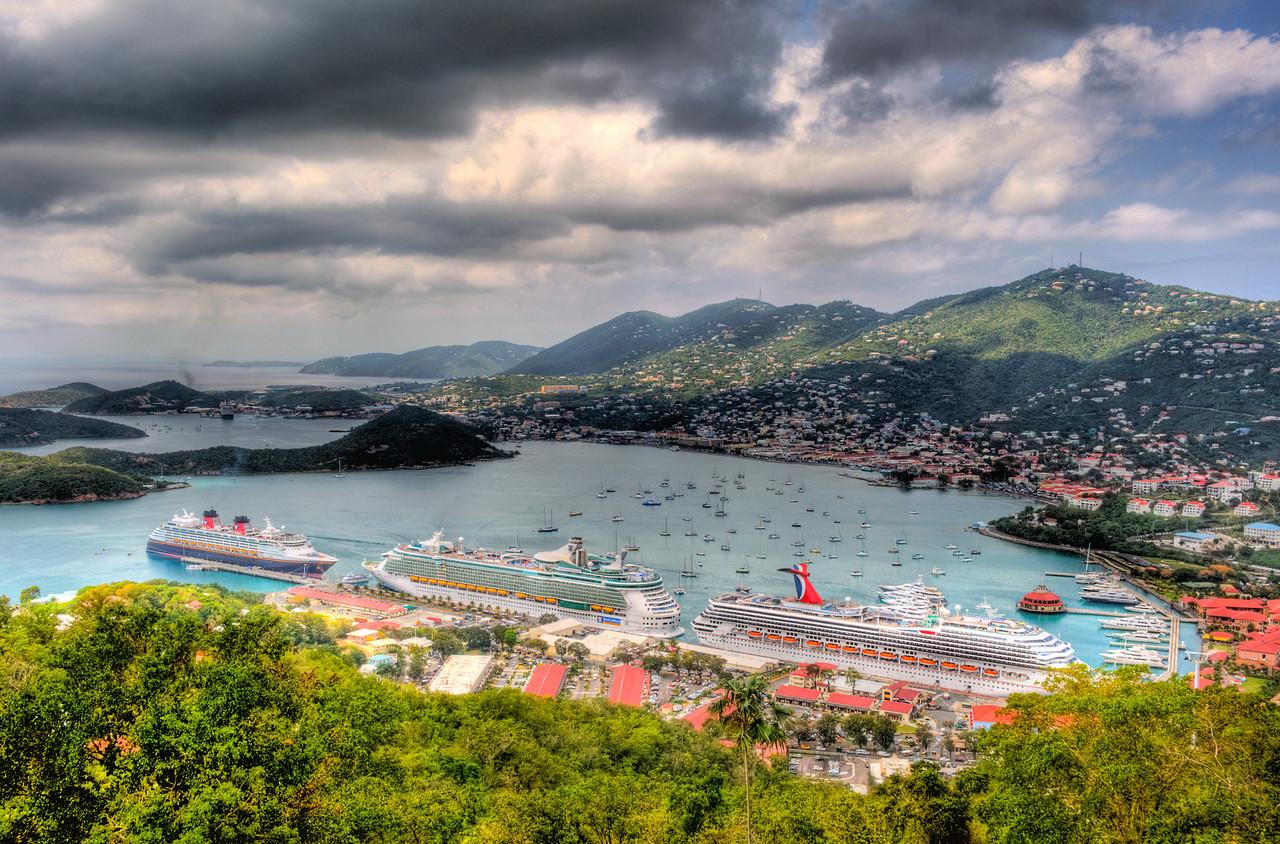High Dynamic Range (HDR) image of cruise ships and harbor at Charlotte Amalie, St. Thomas.