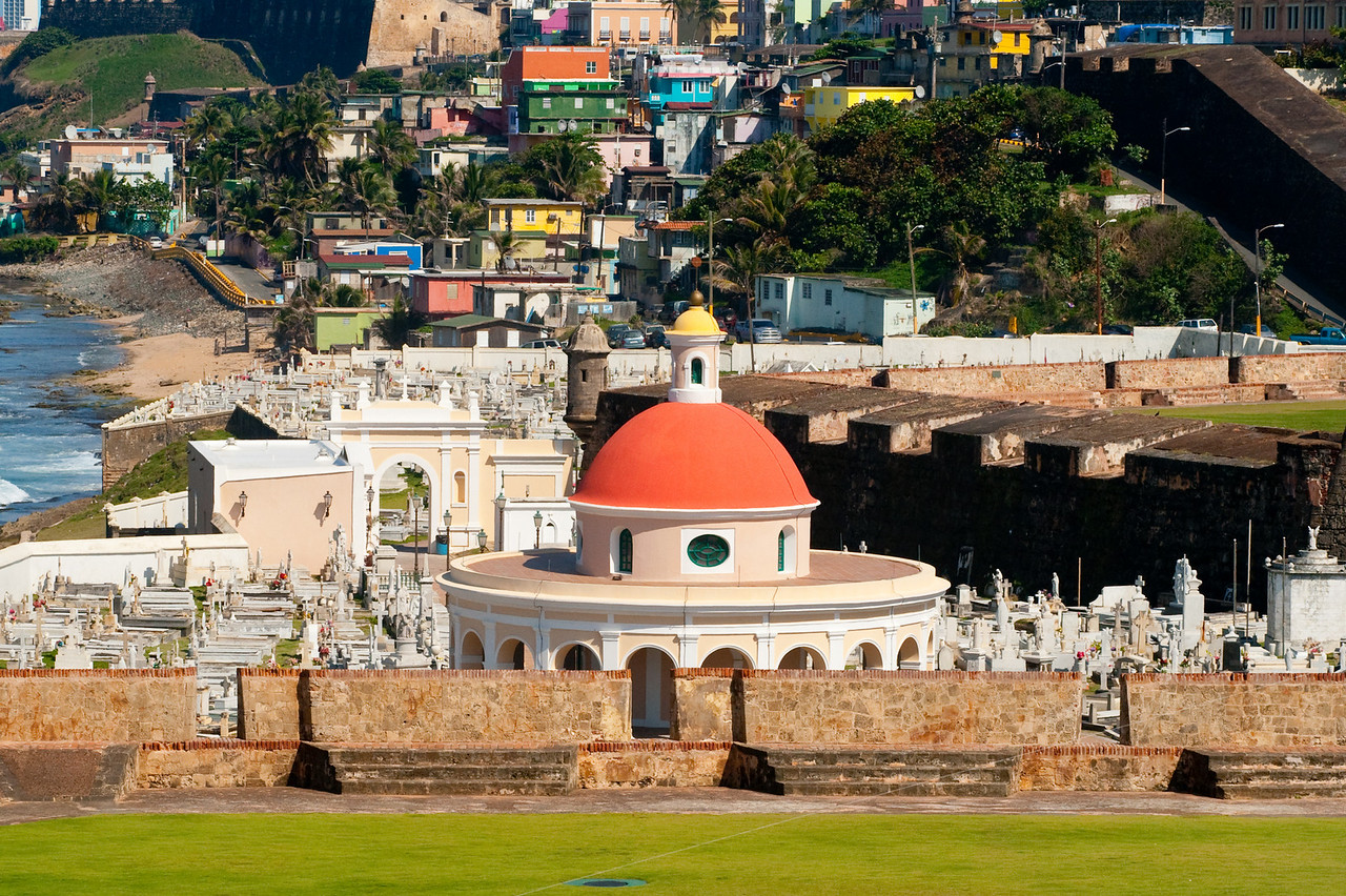 Cemetery and fortress walls at Old San Juan, looking east towards La Perla.