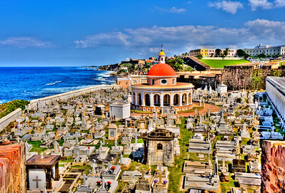 High Dynamic Range (HDR) image of the oceanfront cemetery in Old San Juan, Puerto Rico.
