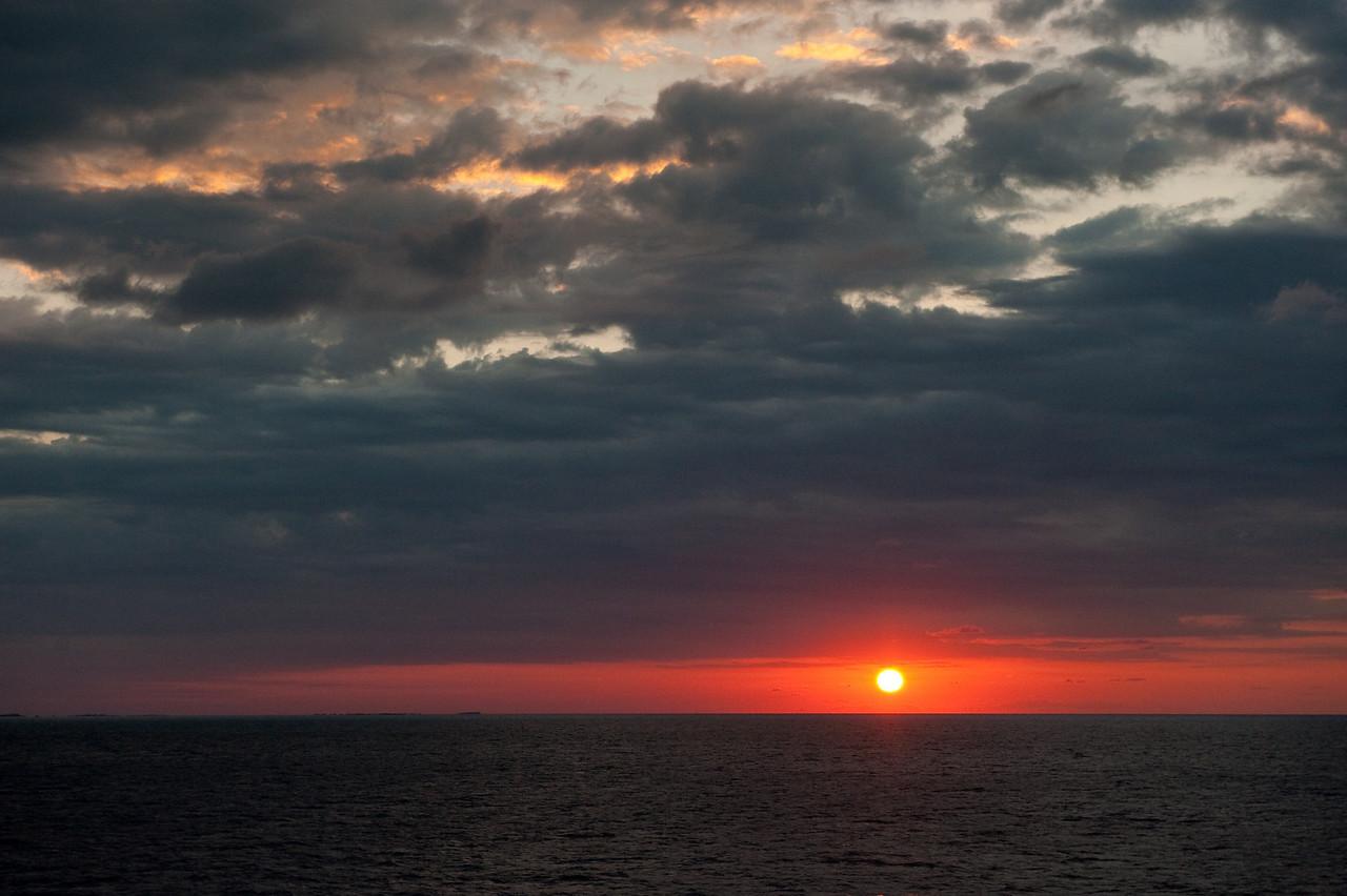 Colorful sunrise over the ocean near the Bahamas.
