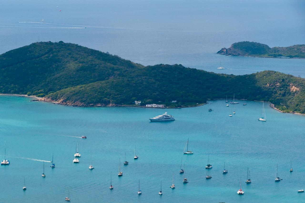 Boats at anchor, Charlotte Amalie, U.S. Virgin Islands.