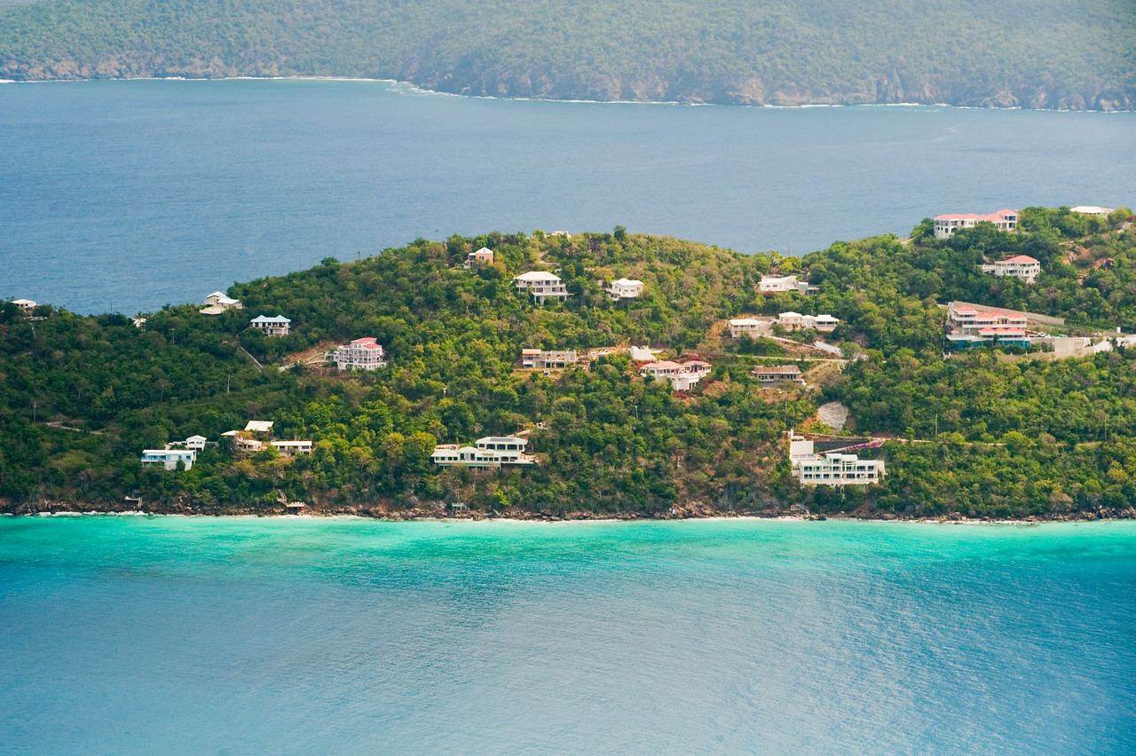 Homes overlooking the blue waters on the coast of St. Thomas, U.S. Virgin Islands.