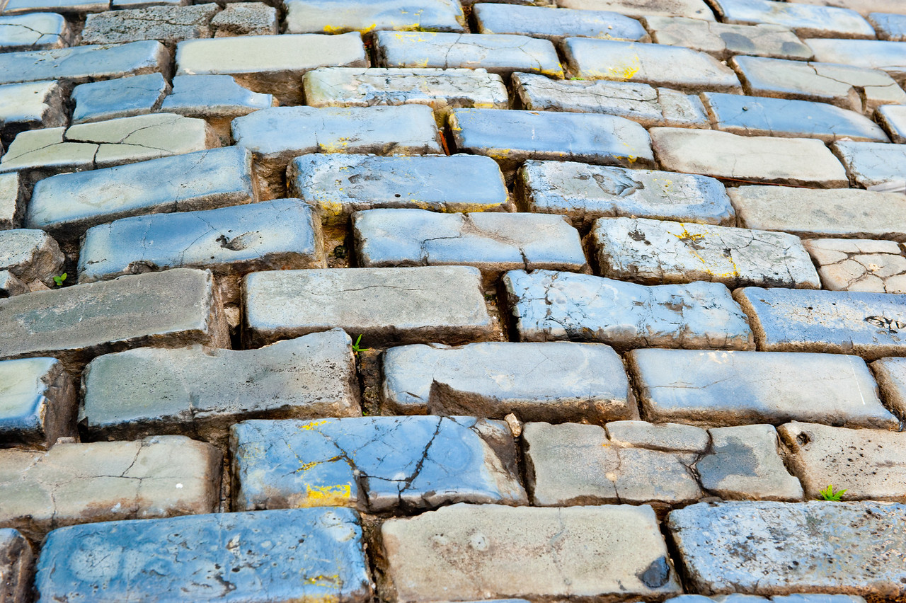 Close up of the stones which pave the streets of Old San Juan, Puerto Rico.