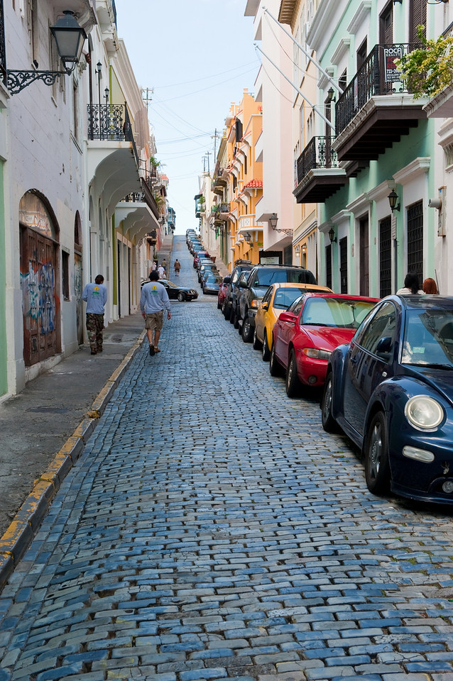 One of the stone streets in Old San Juan, Puerto Rico.