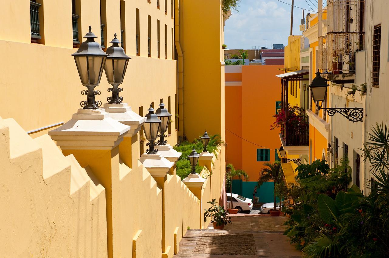 Colorful street scene in Old San Juan, Puerto Rico.