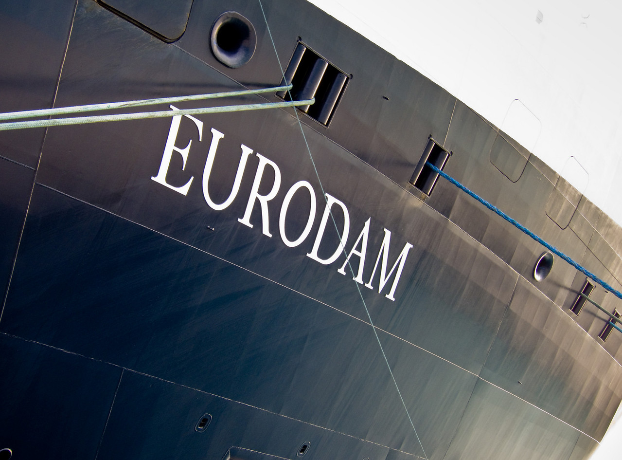 Closeup of ship's name and mooring lines along the side of the m.s. Eurodam.