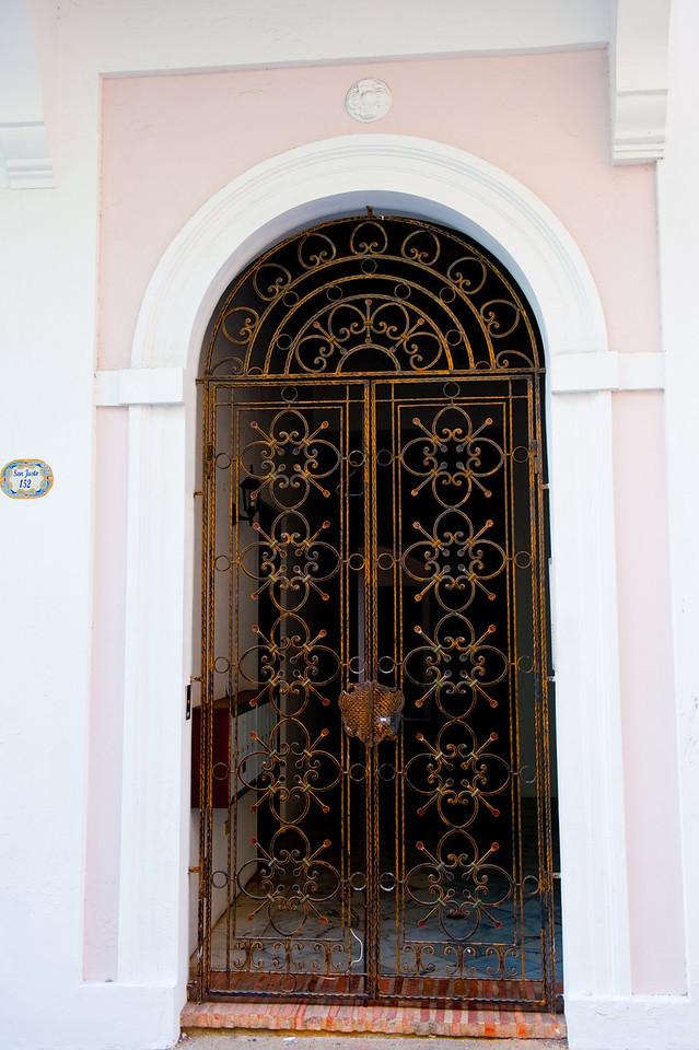 Ornamental iron doorway in Old San Juan, Puerto Rico.