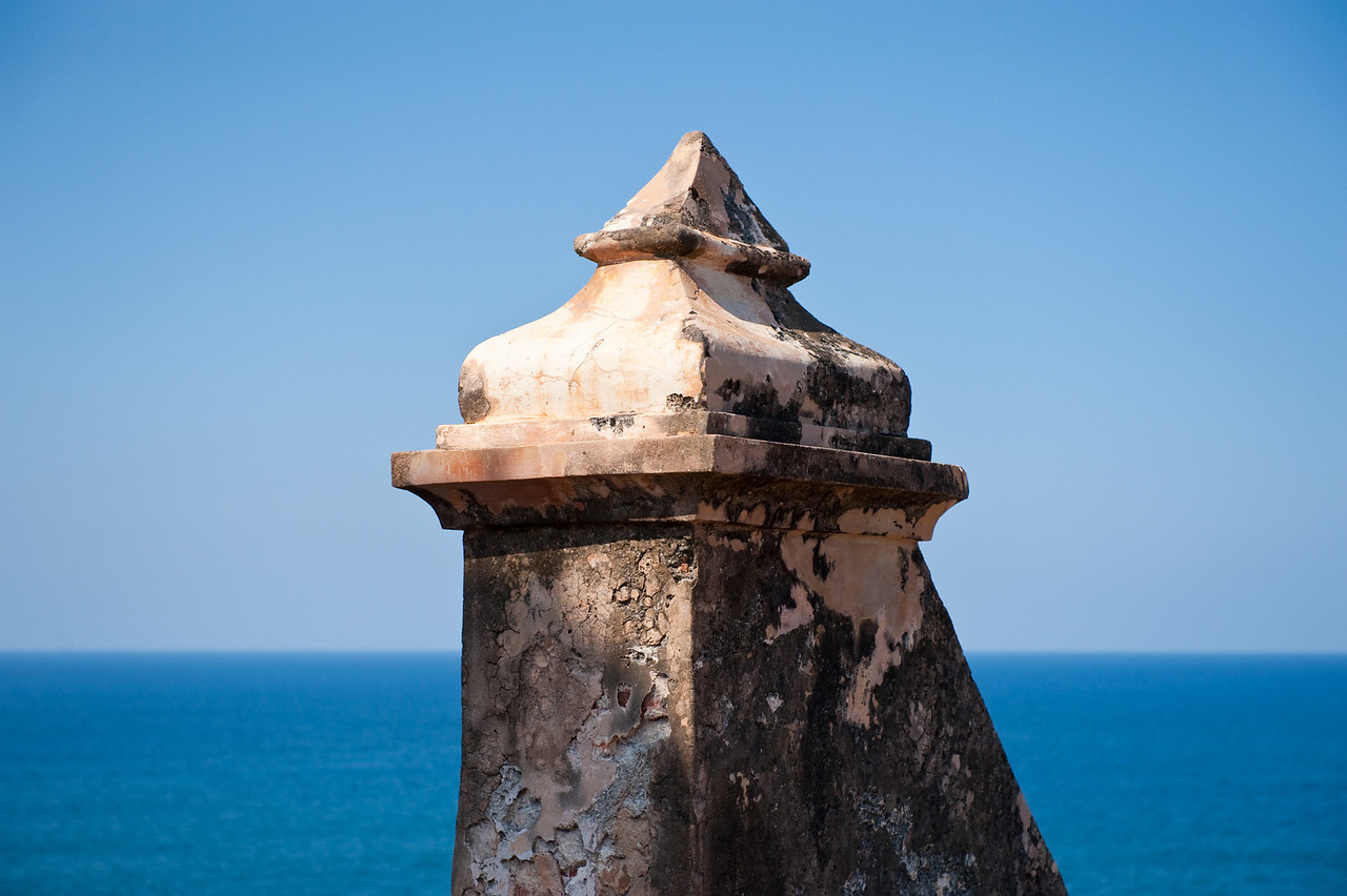 Architectural detail at fortress El Morro, with ocean behind, San Juan Puerto Rico.