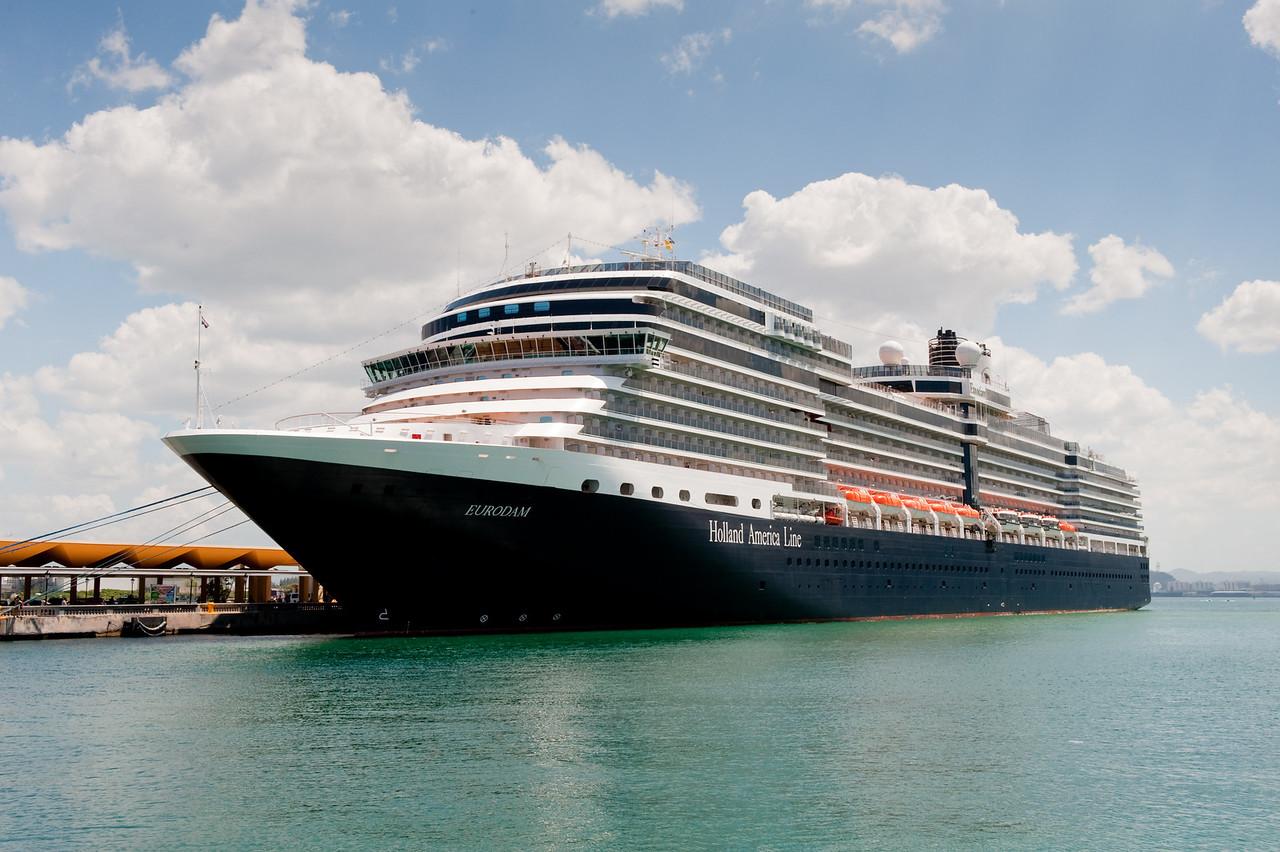Holland America's m.s. Eurodam, docked at Old San Juan, Puerto Rico.
